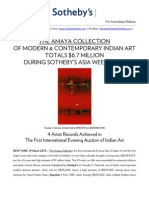 The Amaya Collection of Modern & Contemporary Indian Art Totals $6.7 Million During Sotheby's Asia Week Sales