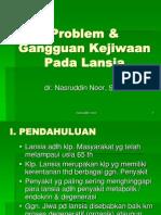 Problem & Gangguan Kejiwaan Pada Lansia