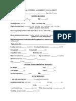 Physical Fitness Assessment Data Sheet