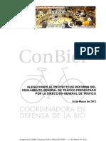 Alegaciones de Conbici al borrador del RGC. Marzo 2013