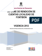 """INFORME DE RENDICIÃ""""N DE CUENTAS VIGENCIA 2012"""