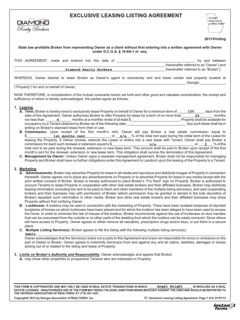 Exclusive Leasing Listing Agreement 2013 Real Estate Broker
