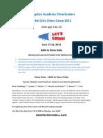 LIttle Girls Camp Registration Form