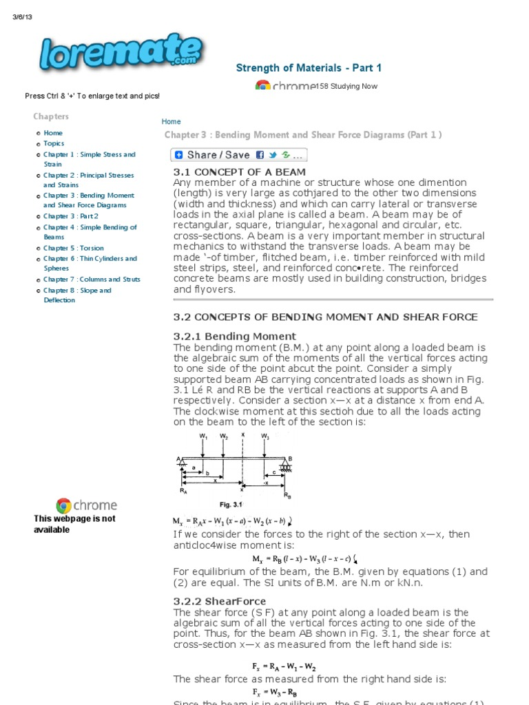 Chapter 3 Bending Moment And Shear Force Diagrams Part 1 Two Concentrated Loads Draw The Strength Of Materials Beam Structure