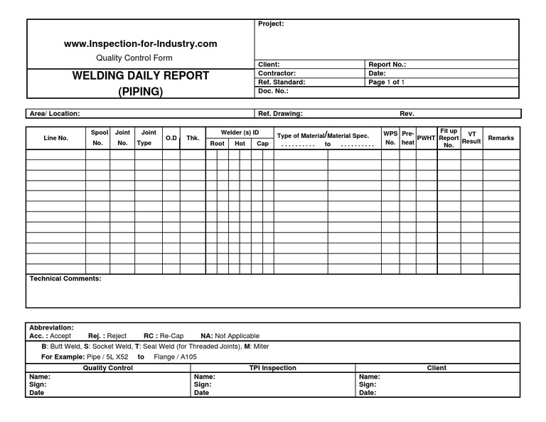 Piping welding daily quality control and inspection report for Quality control check sheet template