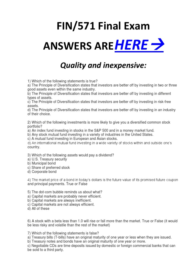 business finance exam questions and answers pdf