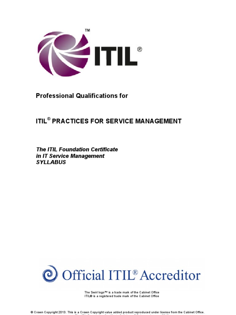 The Itil Foundation Certificate Syllabus V55 Itil It Service