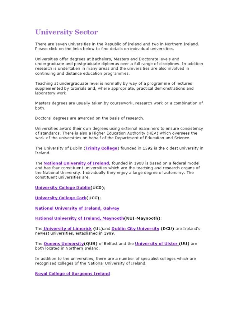 Universities & Colleges-Ireland | College | Academic Degree