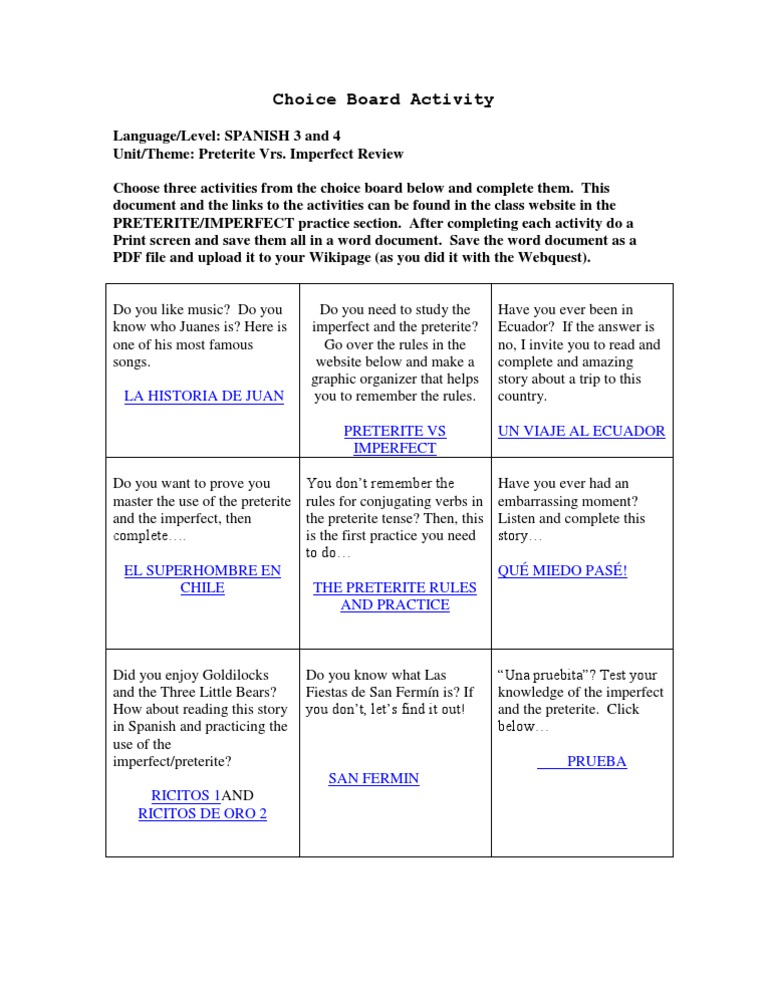 Preterite Vrs Imperfect Choice Board – Preterite Vs Imperfect Worksheet with Answers