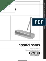Stanley Door Closer 2013 Price Book