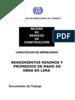 Rendimientos Mano de Obra en Lima