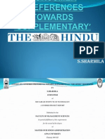 A Study on CONSUMER PREFERENCES TOWARDS 'SUPPLEMENTARY' in the hindu newspaper