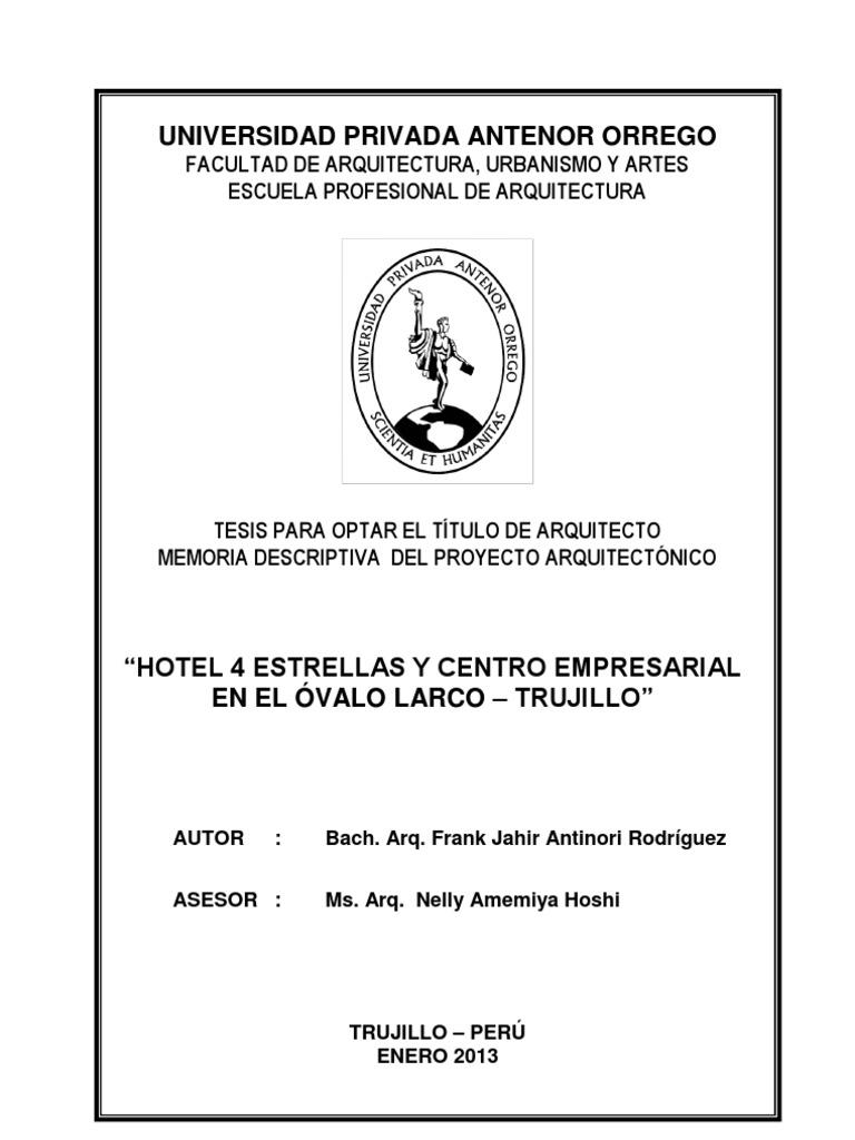 FAUA UPAO Memo Tesis Hotel 4E Arq.Jahir Antinori, Docente Asesor Arq ...