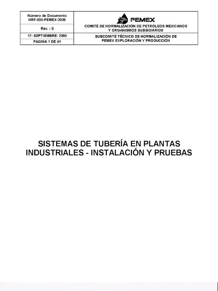 NRF-035-PEMEX-2005 SISTEMAS DE TUBERÍAS EN PLANTAS INDUSTRIALES ...