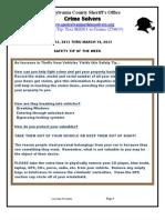 Crime Solvers, 3-13- THRU 3-19-2013