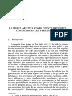 La lírica arcaica como fuentes histórica