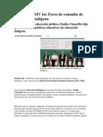 22-03-2013 Puebla noticias - Inaugura RMV los Foros de consulta de Educación Indígena.pdf