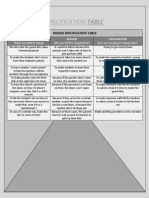 Design Specification Table