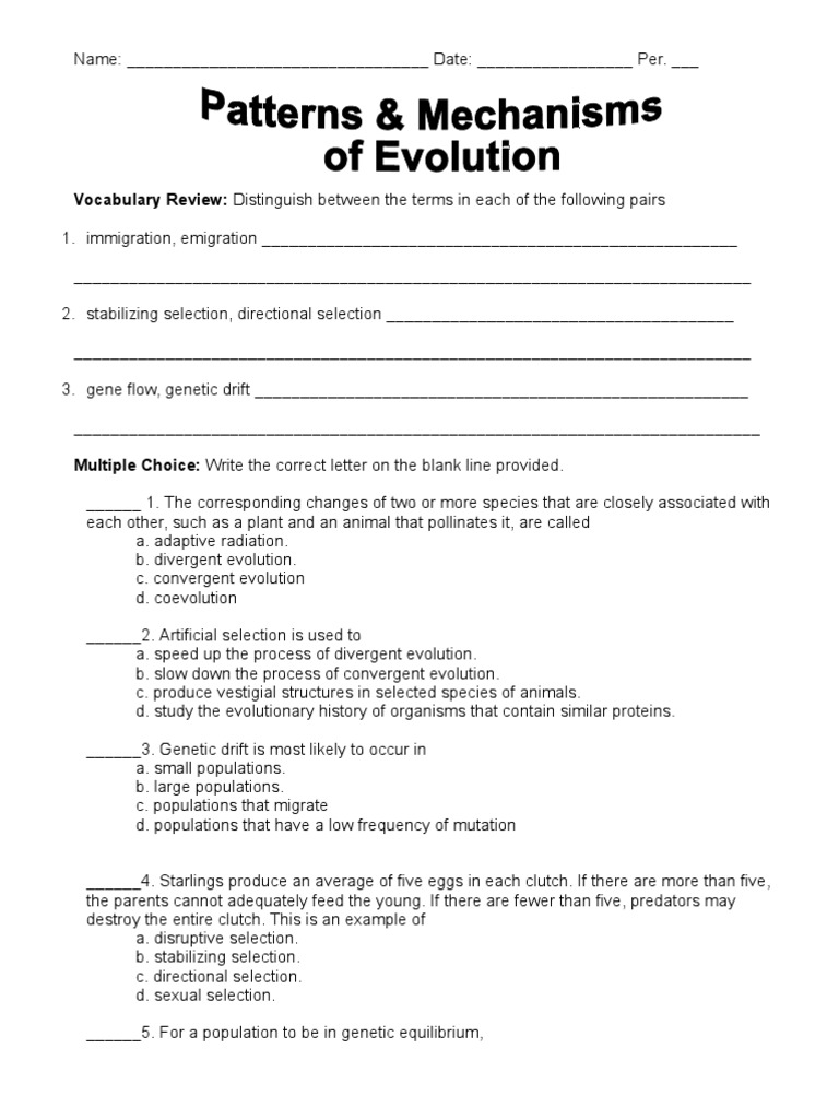 Patterns and Mechanisms Worksheet Natural Selection – Patterns of Evolution Worksheet