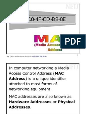03-MAC Address pdf | Telecommunications Standards | Computer