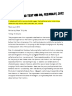 Key to Ielts Writing Test on 4th, Feb, 2012