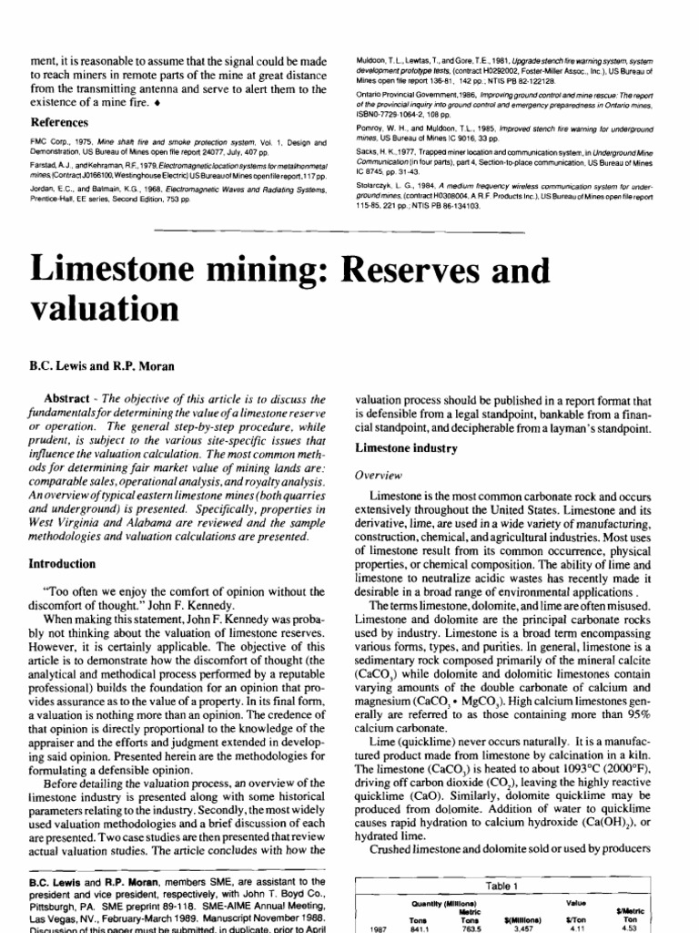 Limestone Mining Reserves and Valuation   Discounted Cash