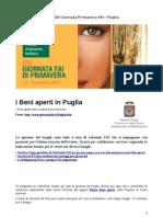 Luoghi Aperti per La XXI Giornata Primavera FAI Puglia