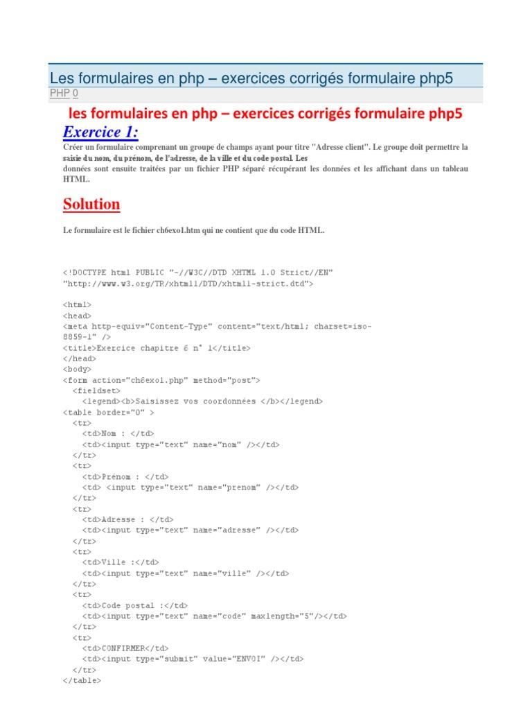 Les Formulaires En Php Xhtml Html