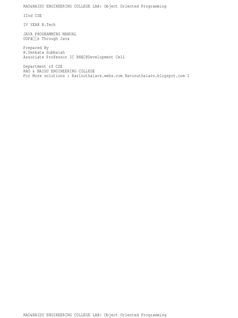 78935398 JNTU JAVA Lab Manual Programs | Java (Programming Language) | C  (Programming Language)