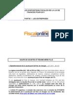 Les Principales Dispositions Fiscales de La Loi de Finances Pour 2011