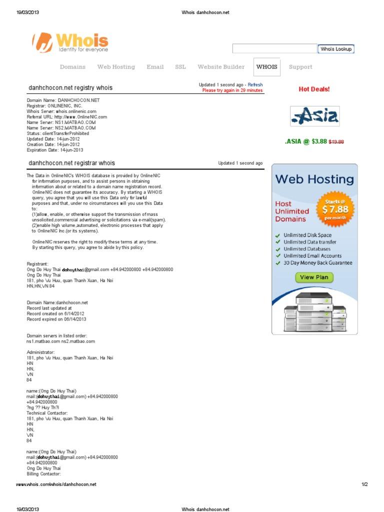 whois danhchocon  domain name  domain name registrar