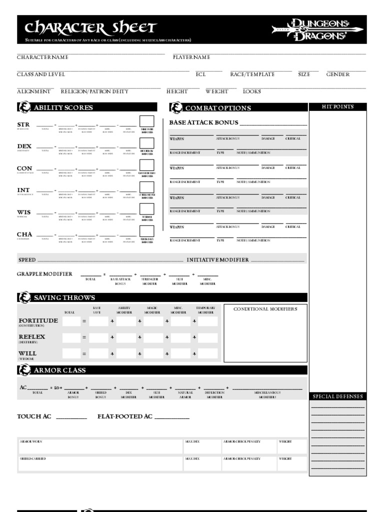 dungeons dragons 3 5 character sheets. Black Bedroom Furniture Sets. Home Design Ideas