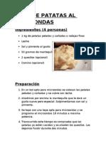 Pure de Patatas Al Microondas