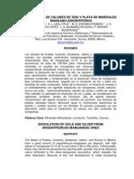 Dosolucion de Valores de Oro y Plata de Minerales Mangano-Argentiferos
