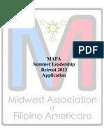 MAFA Summer Leadership Retreat Application