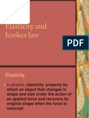 Elasticity And Hookes Law Ppt Elasticity Physics Materials