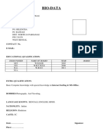 Simple Biodata Format