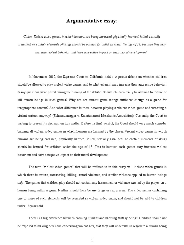 argumentative essay on videogames and violence