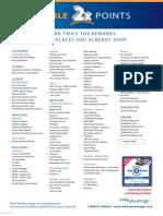 Complete List of Double Points Merchants