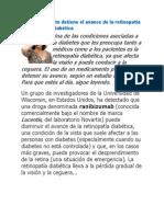 Un medicamento detiene el avance de la retinopatía diabética