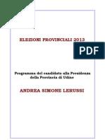 Programma Elezioni Provinciali Udine 2013