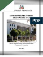 Consideraciones Presupuestarias 2013