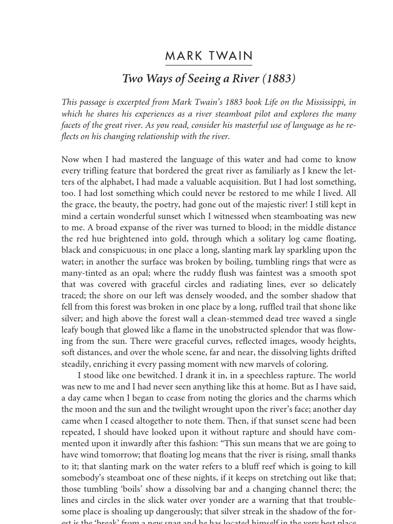 Mark twain two ways of seeing a river summary