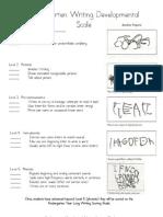 Kindergarten Writing Developmental Scale and Year Long Scoring Guide