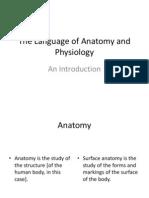 El Lenguaje de La Anatomia y Fisiologia