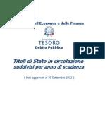 Titoli Di Stato in Circolazione 30-09-2012 GPO