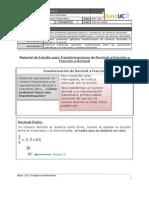 Material de Estudio para Transformaciones de Decimal a Fracción y Fracción a Decimal