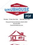 Cousin's Grubhouse Menu