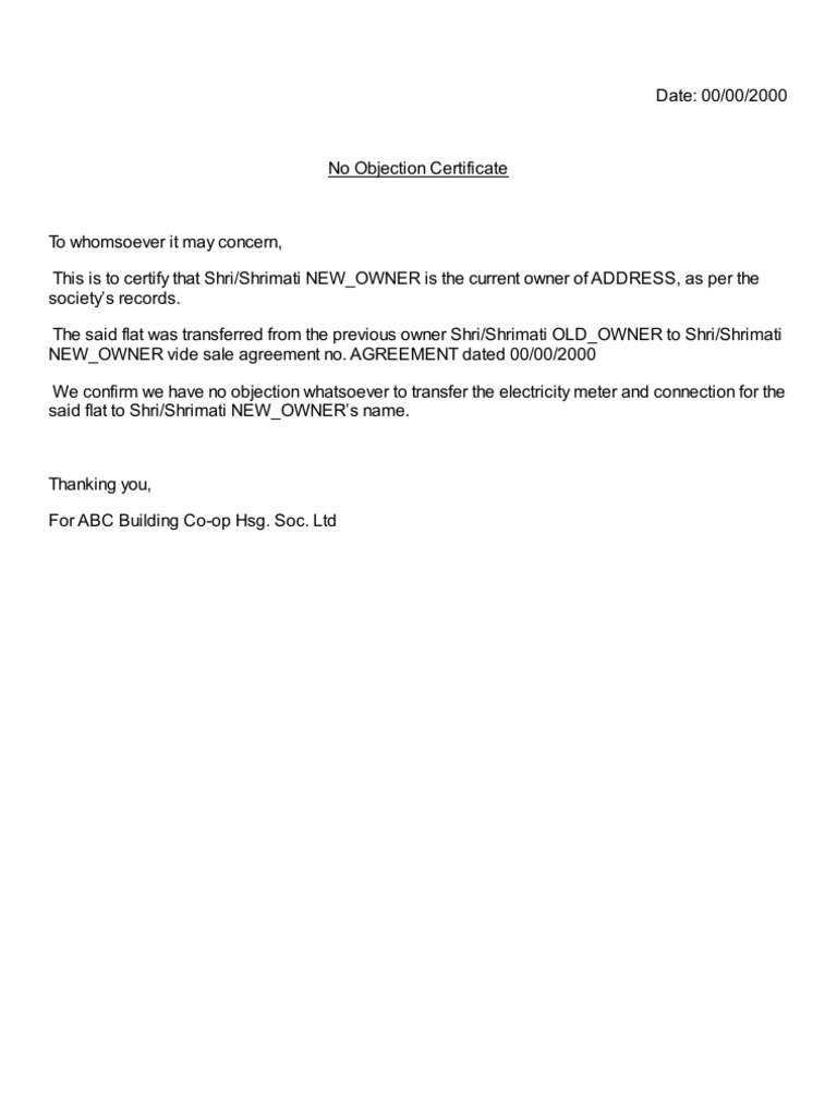 Sample No Objection Letter Certificate Noc 1 – No Objections Certificate