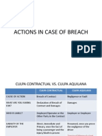 Actions & Damages in Cases of Breach